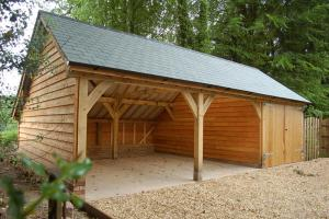 kit or bespoke garage on an oak frame